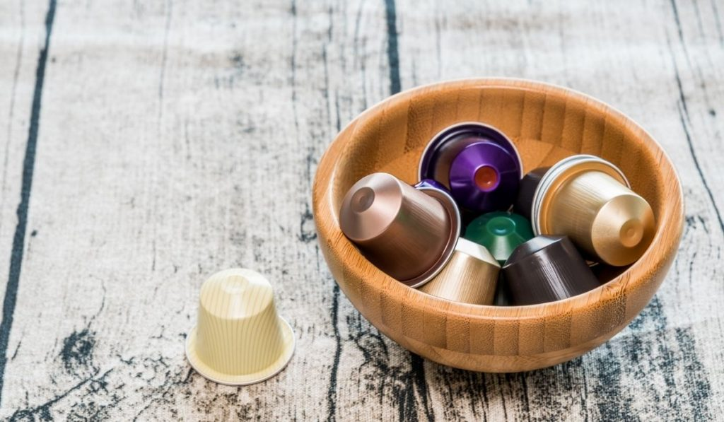 coffee pods in a wooden bowl