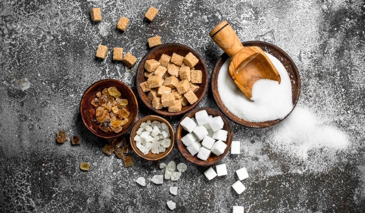 different kind of sugars in a wooden bowl
